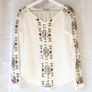Blu Pepper Sheer Embroidered BOHO Blouse Small